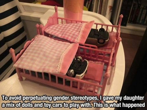 to avoid perpetuating gender stereotypes, I gave my daughter a mix of dolls and toy cars to play with, this is what happened
