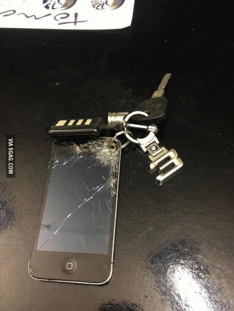 iphone, key chain, cracked screen