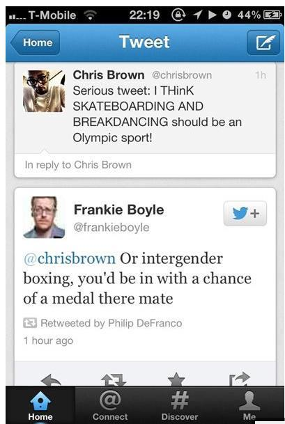 twitter, chris brown, olympics, burn