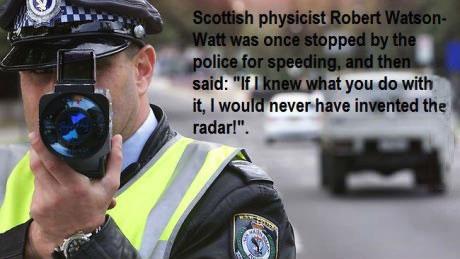 watt, radar, speeding, physicist