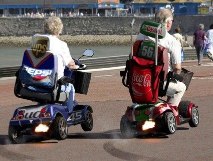 old, elderly, race, motorized wheelchair