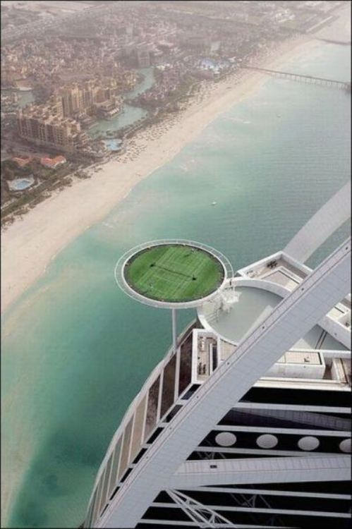 tennis court on top of building, wtf