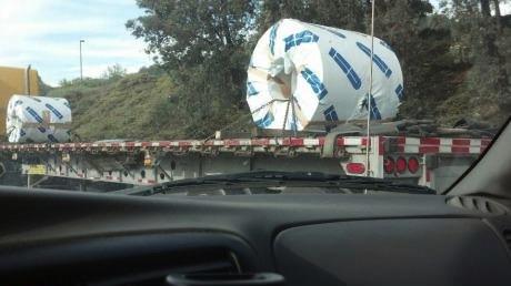 toilet paper, giant, truck, wtf, lol