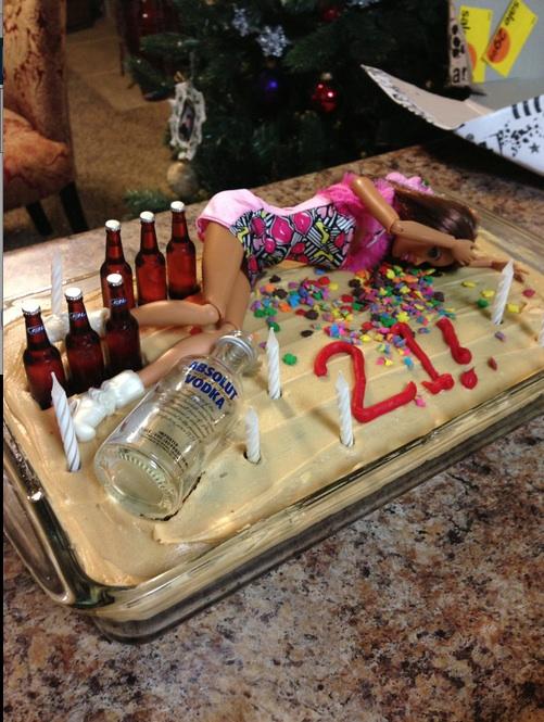 cake, barbie, vodka, absolut, win, birthday