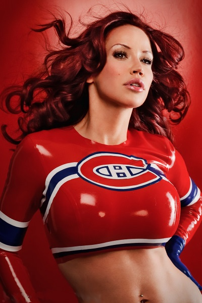 busty woman wearing a short tight montreal canadiens top