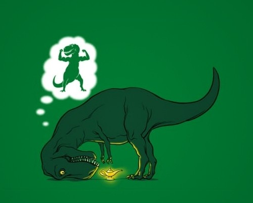 tyrannosaurus rex reaching for a genie lamp so that he can wish for longer arms