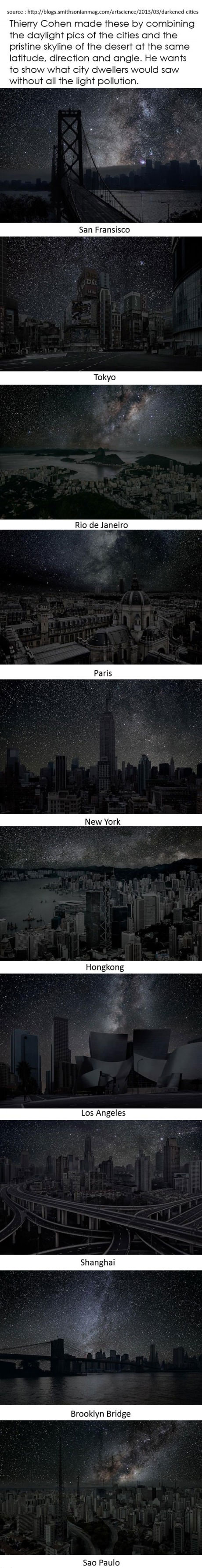 cities, art, light, pollution, sky, stars