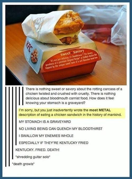 metal, chicken sandwich, kfc