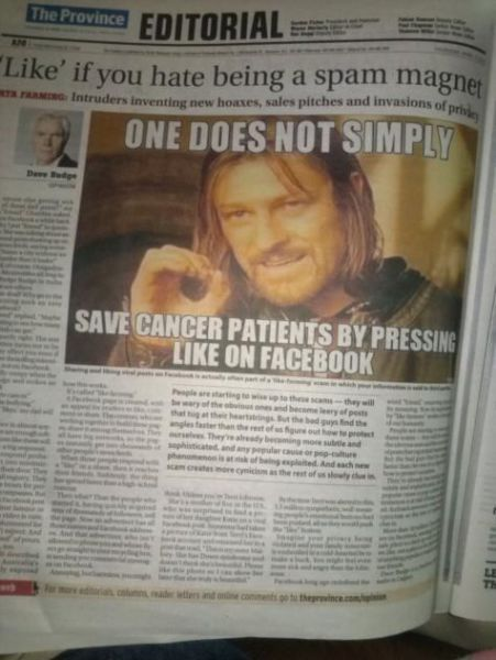 newspaper, meme, one does not simply