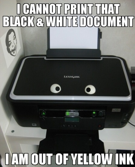 printer, googley eyes, fail, yellow ink