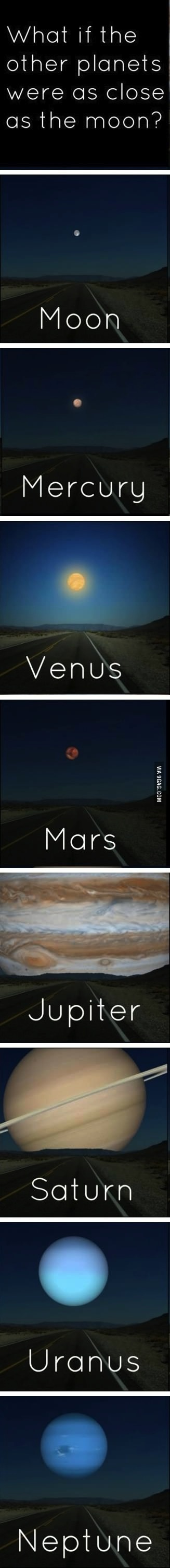 planets, moon, solar system, perspective