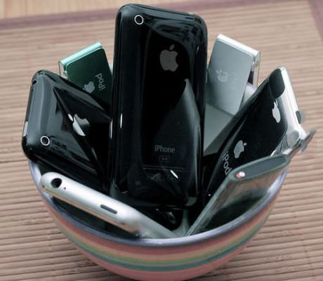 a bowl of apple iphones