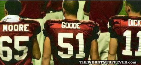 moore goode dick, worst, football, jersey, name