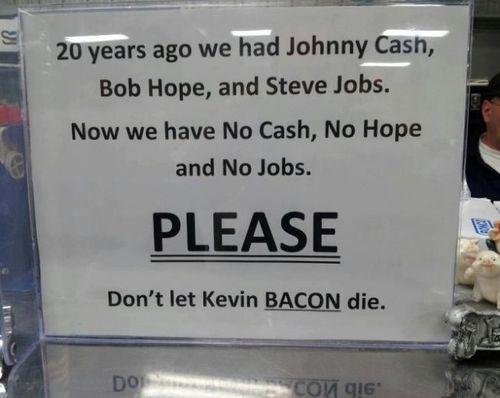 steve jobs, johnny cash, bob hope, sign, kevin bacon