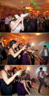bride throws bouquet and man drop kicks it, lol