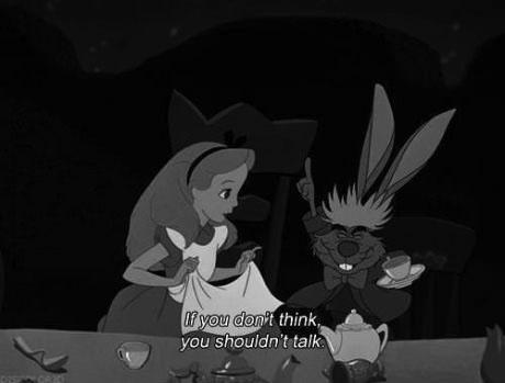 alice in wonderland, tea party, think, talk