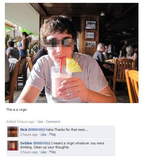 facebook, virgin, mom, drink