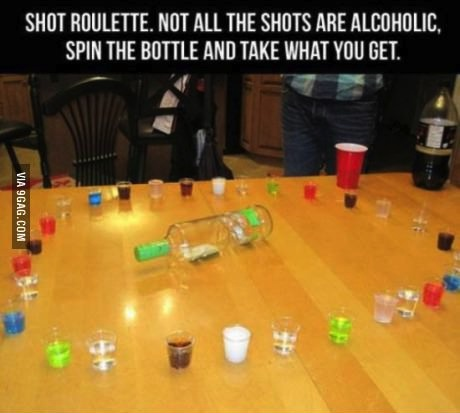 shot roulette, not all the shots are alcoholic, spin the bottle and take what you get, drinking game