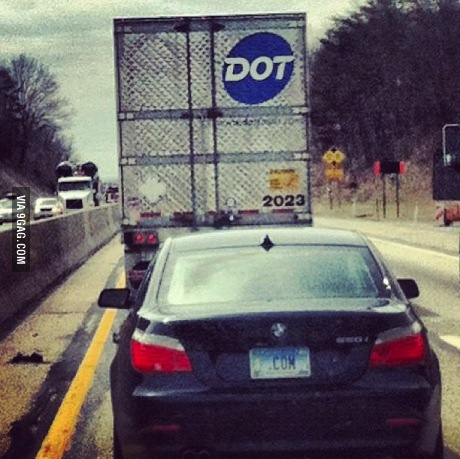 coincidence, dot, com, truck, car, license plate