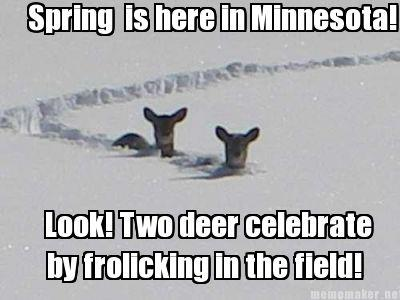 spring is here in minnesota, look two deer celebrate by frolicking in the field, meme