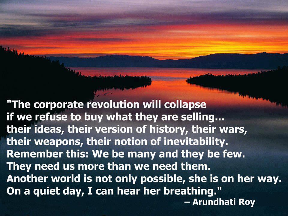 corporate revolution, quote, power, people, human, life
