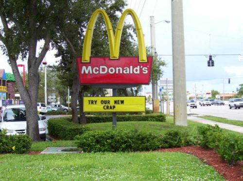 sign, mcdonalds, crap