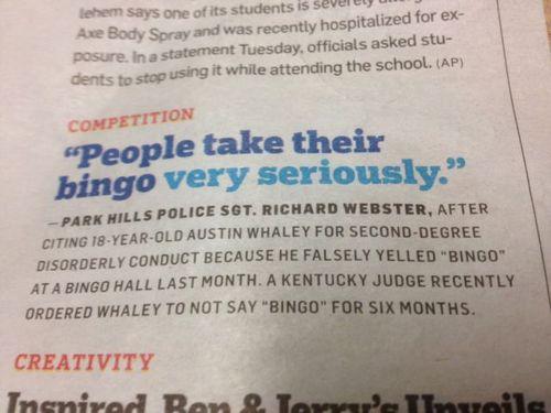 bingo, wtf, newspaper, crime