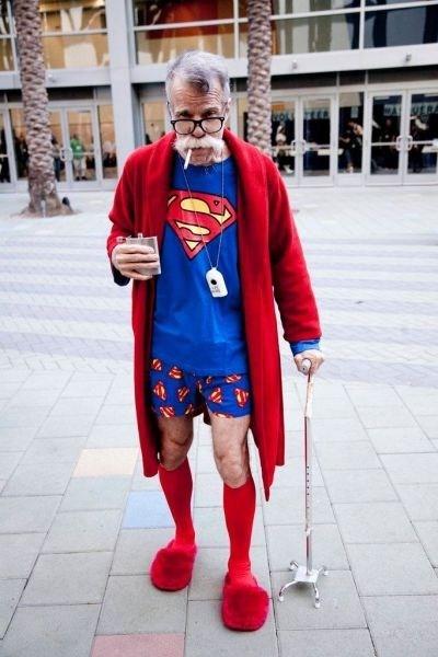 superman, tshirt, elderly, costume, dressed, wtf
