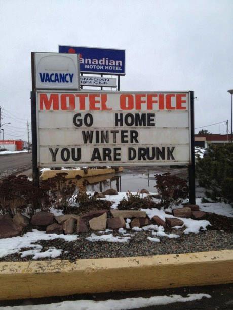 motel, sign, winter, go home, drunk