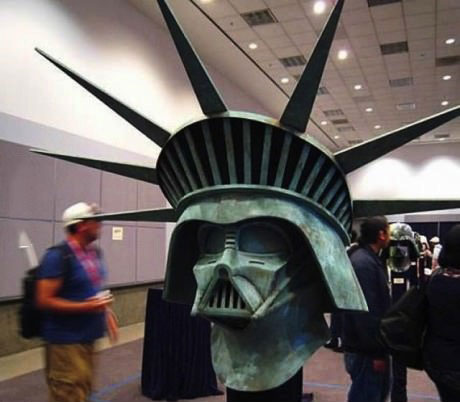 star wars, statue of liberty head, darth vadar mask