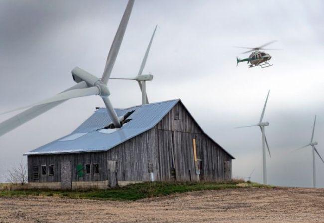 wind turbine, fall, accident, barn