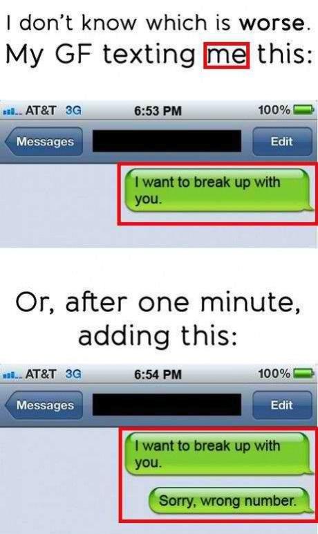 text message, lol, breakup, fail