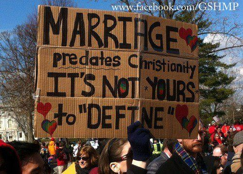 marriage, religion, christianity, protest, sign