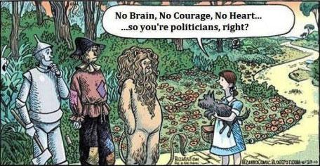 wizard of oz, politicians, courage, brain, heart