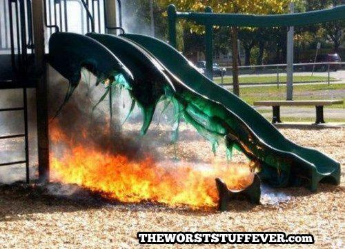 melting slide fire at the worst park ever