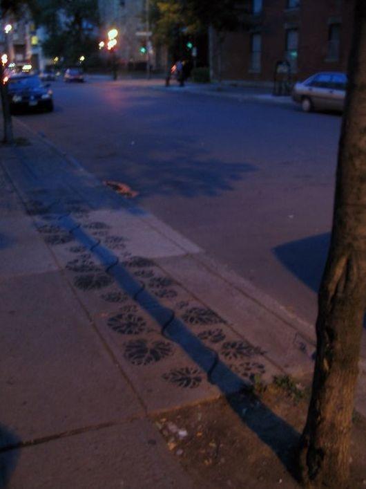 street, art, shadow, tree, plants