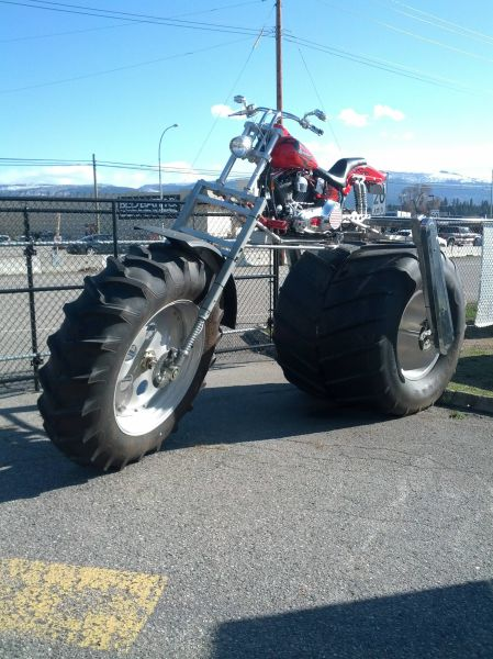 just a motorcycle with monster truck wheels, win
