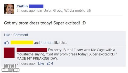nicolas cage, prom dress, facebook, moustache, lol