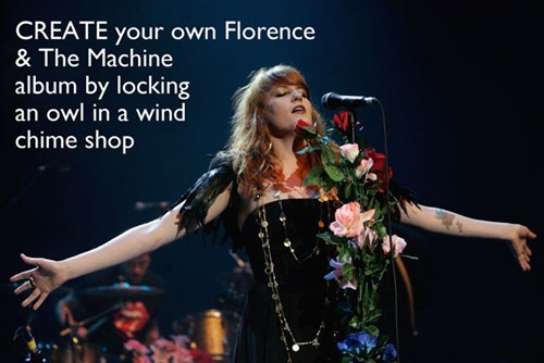 create your own florence and the machine album by locking an owl in a wind chime shop