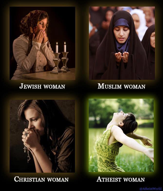 religion, woman, atheist, jewish, christian, muslim
