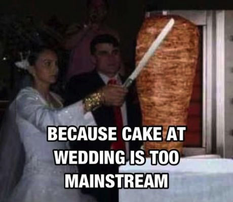 because cake at a wedding is too mainstream, marriage, shish taouk, wtf