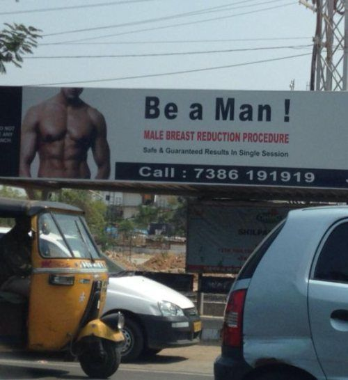 billboard, ad, sign, man, breast reduction