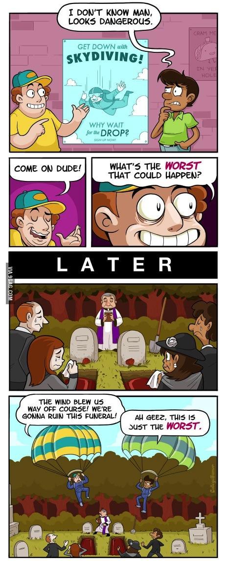 comic, sky diving, funeral