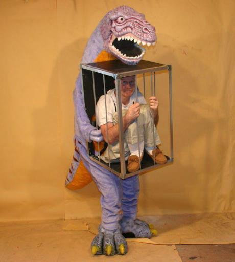 costume, win, dinosaur, cage