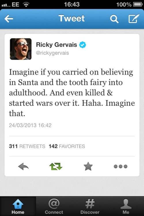 twitter, ricky gervais, religion