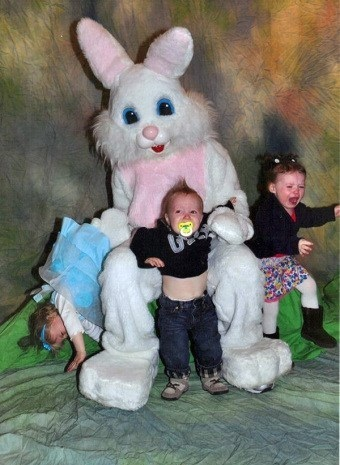 three children screaming with the easter bunny, trying to escape, lol, crying