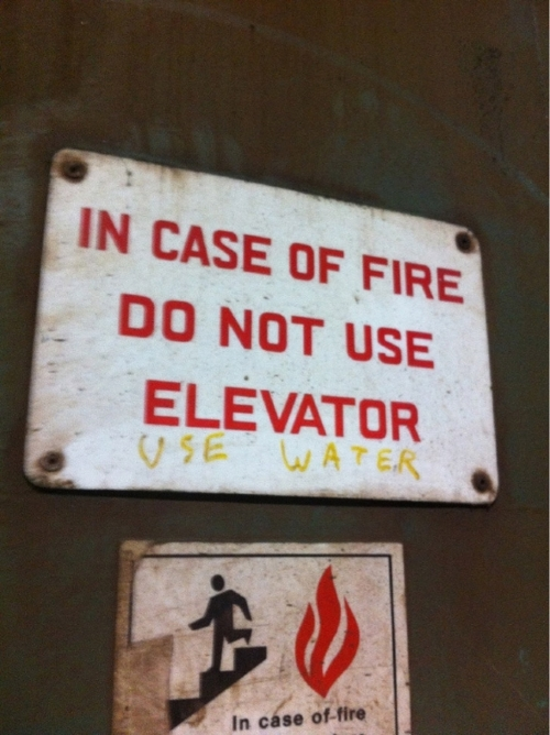 sign, fire, hacked irl, water, elevator