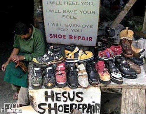 slogan, win, shoe repair, pun, wordplay