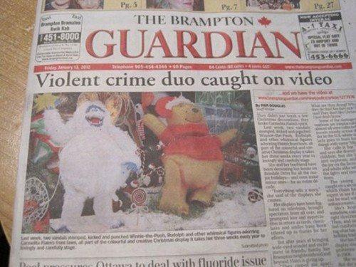 newspaper, wtf, winnie the poo, mascot
