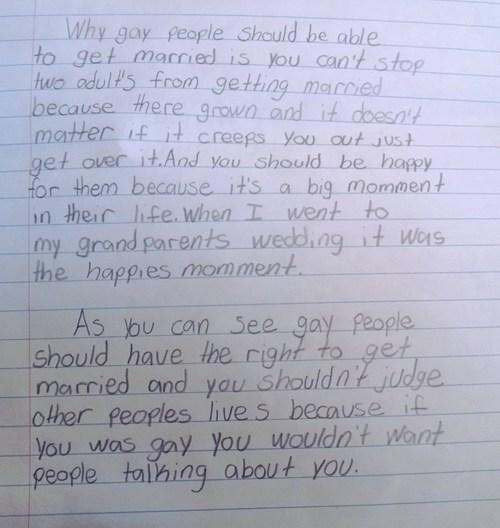 gay marriage, grade school, essay